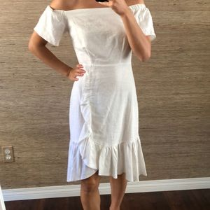 ASOS White Linen Ruffle Dress